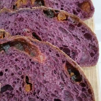 Ah Huat  Purple carrot fruity loaf first slice