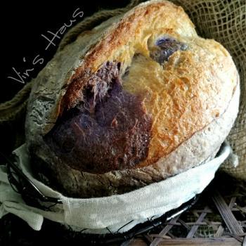 Butterfly Pea  Butterfly Pea Flowers Sourdough Bread first slice
