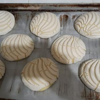 Conchita Conchas ( mexican sweet buns)  first slice