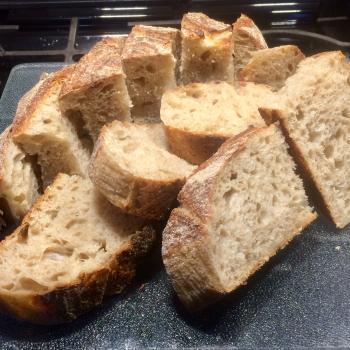 Iris  Sourdough boule first slice