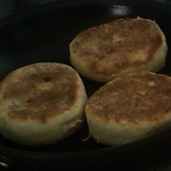 MacPike Family Starter English Muffins first slice