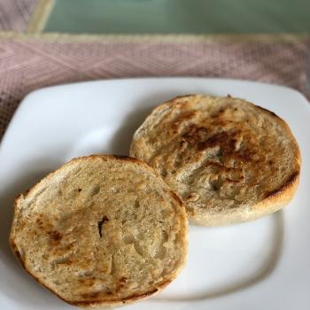 Miss Cheerilee Sourdough bagels first slice