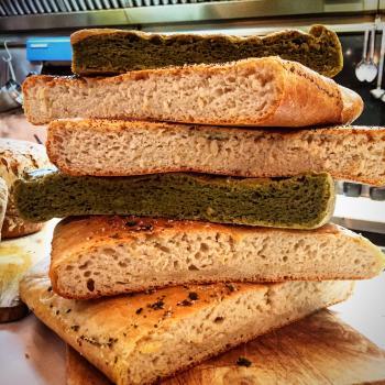 Petris Sourdough bread and focaccia first slice