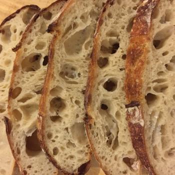 Precious Sourdough bread first slice