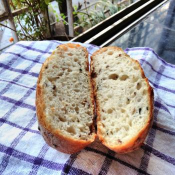 Puneri Rustic loaf first slice