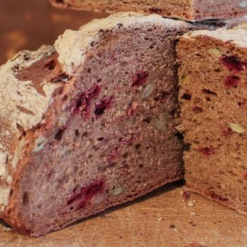September starter Sourdough beetroot bread second slice