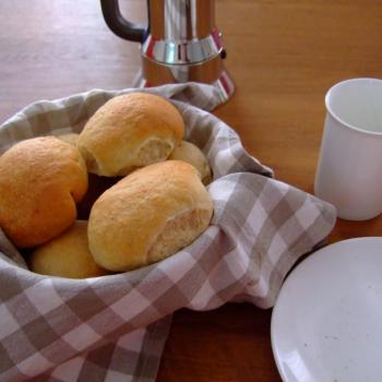 September starter Sourdough buns first slice