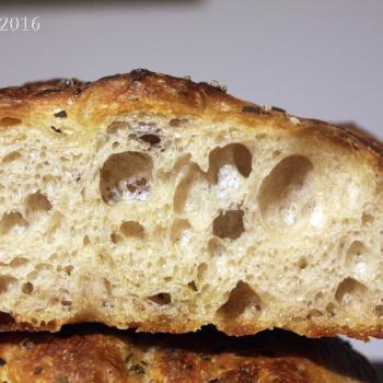 September starter Sourdough focaccia first slice