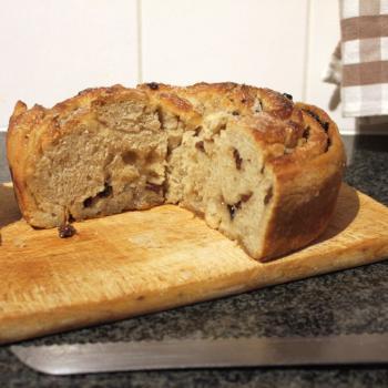 September starter Sourdough lardy bread first slice