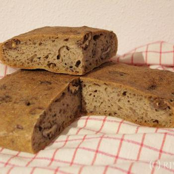 September starter Sourdough walnut flatbread second overview