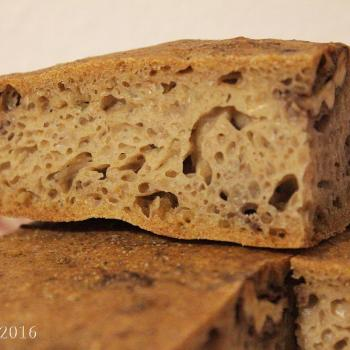September starter Sourdough walnut flatbread first slice